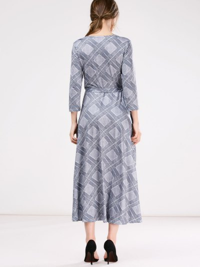 Checked Wrap A-Line Dress - GRAY ONE SIZE Mobile