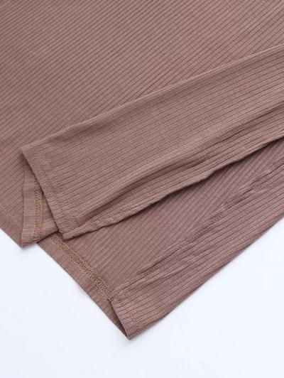 Side Slit Sleeveless Mock Neck Dress - LIGHT COFFEE S Mobile