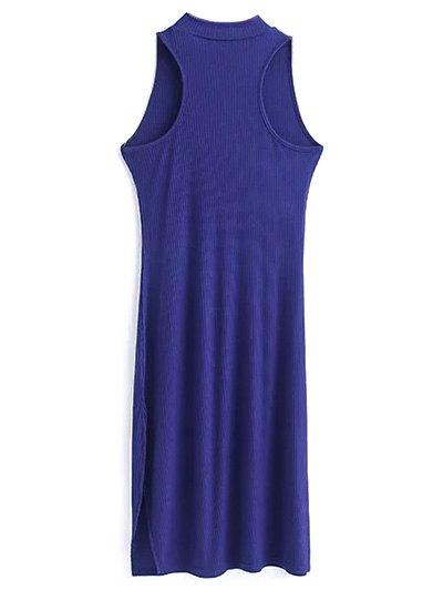 Side Slit Sleeveless Mock Neck Dress - SAPPHIRE BLUE M Mobile