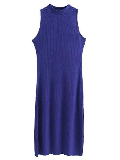 Side Slit Sleeveless Mock Neck Dress - SAPPHIRE BLUE S Mobile