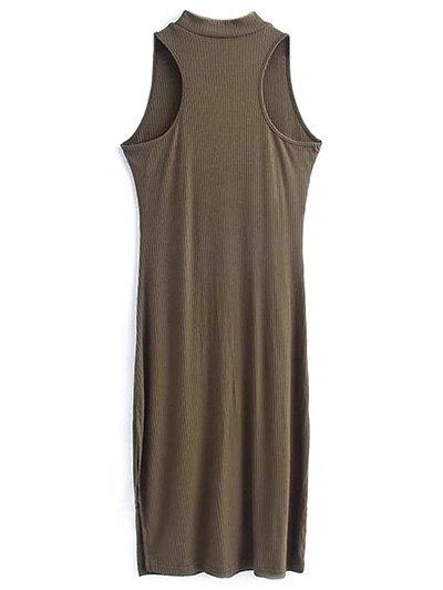 Side Slit Sleeveless Mock Neck Dress - ARMY GREEN M Mobile