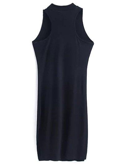 Side Slit Sleeveless Mock Neck Dress - BROWN M Mobile