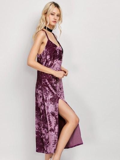 Crushed Velvet Midi Cami Slip Dress - FUCHSIA ROSE XL Mobile