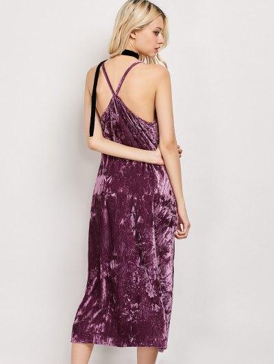 Low Cut Velvet Midi Cami Slip Dress - FUCHSIA ROSE S Mobile