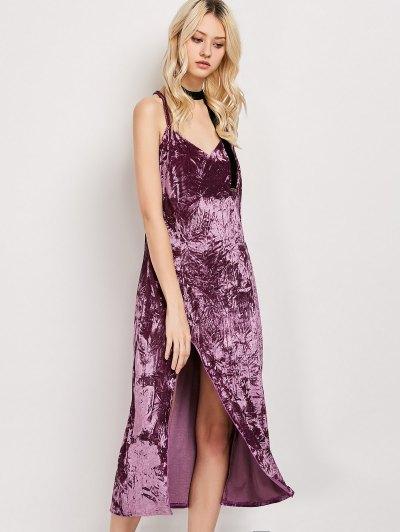 Crushed Velvet Midi Cami Slip Dress - FUCHSIA ROSE S Mobile