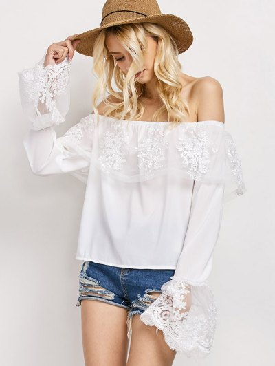 Lace Chiffon Off The Shoulder Top - WHITE XL Mobile