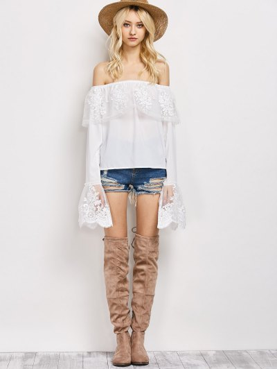Lace Chiffon Off The Shoulder Top - WHITE M Mobile