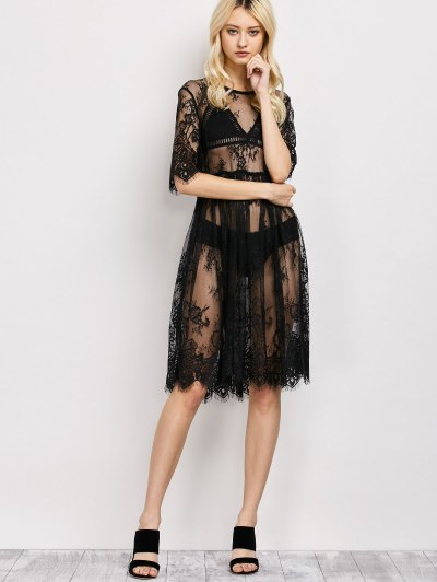 Scallopped See-Through Lace Dress - BLACK L Mobile