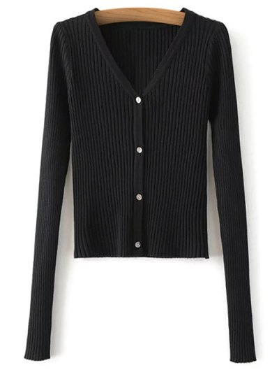 Buttons Cropped Ribbed Cardigan - BLACK ONE SIZE Mobile