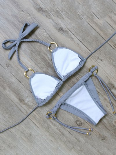 Braided Padded String Bikini Set - GRAY M Mobile