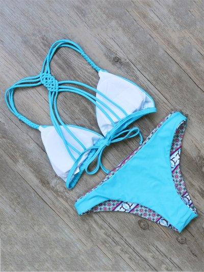 Braided Printed Stringy Bikini - LAKE BLUE L Mobile