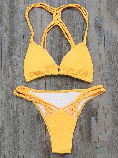 Braided Padded Bikini - YELLOW S Mobile