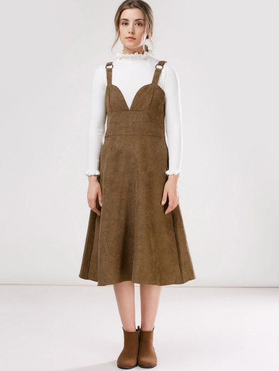 Faux Suede Pinafore A-Line Dress With Fitting Knitwear - KHAKI L Mobile