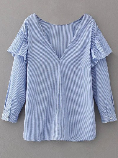 V Neck Ruffle Striped Pullover Shirt - BLUE M Mobile
