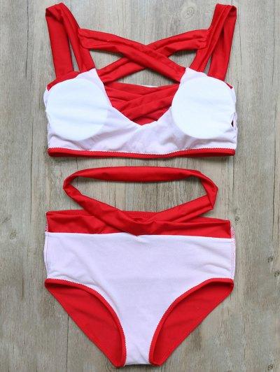Crossover Cutout Bikini Set - RED L Mobile