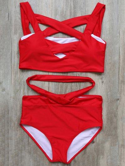 Crossover Cutout Bikini Set - RED S Mobile
