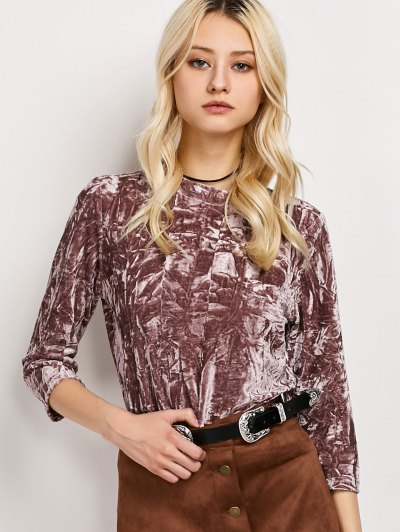 Crushed Velvet Mock Neck Top - COLORMIX L Mobile