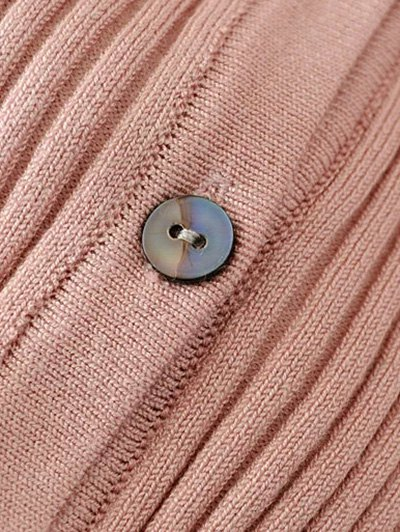 Buttons Cropped Ribbed Cardigan - PINK ONE SIZE Mobile