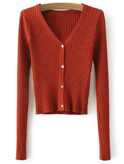 Buttons Cropped Ribbed Cardigan - JACINTH ONE SIZE Mobile