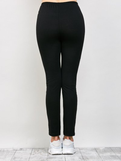 Mesh Panel See Thru Leggings - BLACK L Mobile