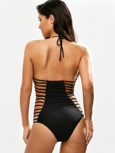Strappy Plunging Neck Swimsuit - BLACK S Mobile