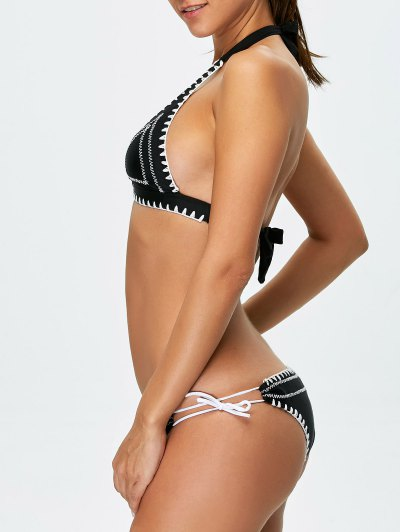 Embroidered Bowknot Bikini Set - BLACK XL Mobile