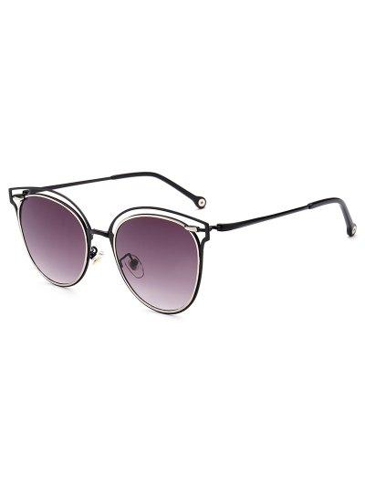 Double Rims Cat Eye Sunglasses - DEEP PURPLE  Mobile