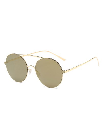 Crossbar Metal Round Mirrored Sunglasses - GOLDEN  Mobile