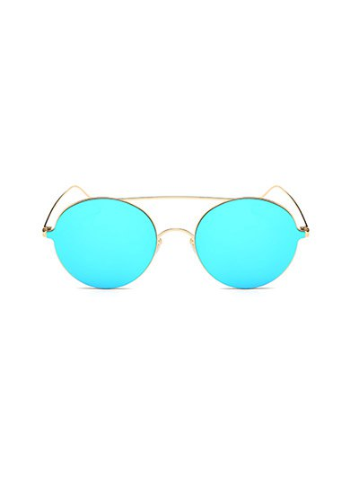 Crossbar Metal Round Mirrored Sunglasses - ICE BLUE  Mobile