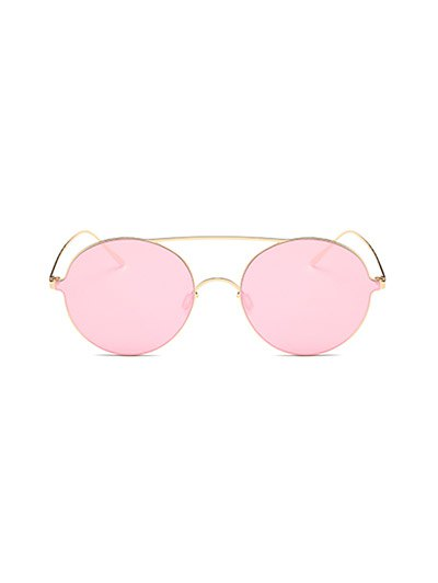 Crossbar Metal Round Mirrored Sunglasses - PINK  Mobile