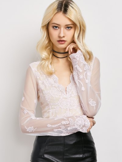 Long Sleeve Semi Sheer Lace Top - LIGHT PINK M Mobile