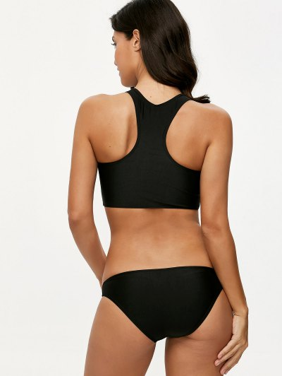 Padded High Neck Sporty Bikini Set - BLACK M Mobile