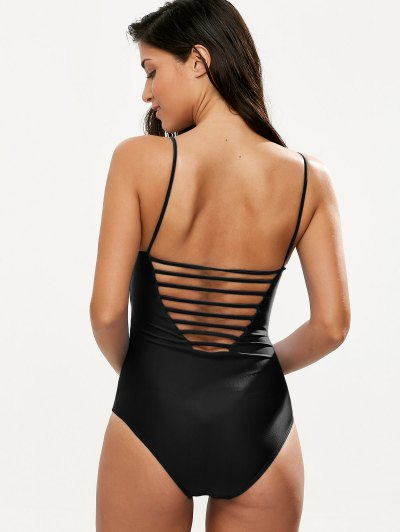 Hollow Out One-Piece Swimwear - BLACK L Mobile