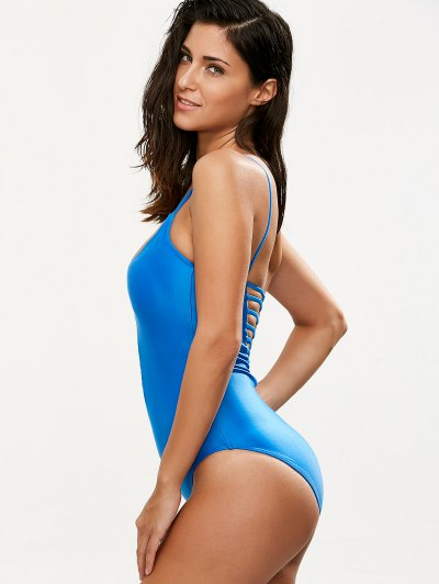 Hollow Out One-Piece Swimwear - BLUE L Mobile