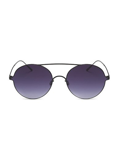 Crossbar Metal Round Sunglasses - BLACK  Mobile