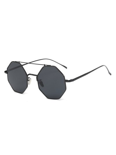 Retro Crossbar Polygonal Metal Sunglasses - BLACK  Mobile