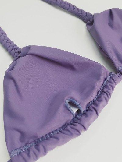High Leg Knitted Bikini Set - PURPLE L Mobile