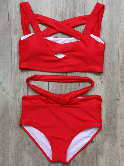 Crossover Cutout Bikini Set - RED S Mobile
