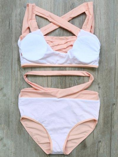 Crossover Cutout Bikini Set - PINK XL Mobile