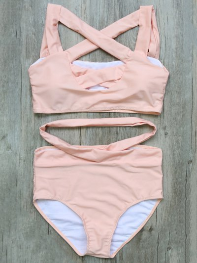 Crossover Cutout Bikini Set - PINK L Mobile