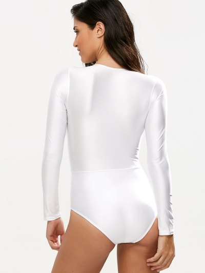 Long Sleeved Lacing Plunge Swimsuit - WHITE M Mobile