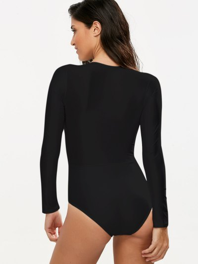 Long Sleeved Lacing Plunge Swimsuit - BLACK L Mobile