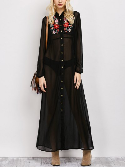 Embroidered Sheer Maxi Shirt Dress - Black L