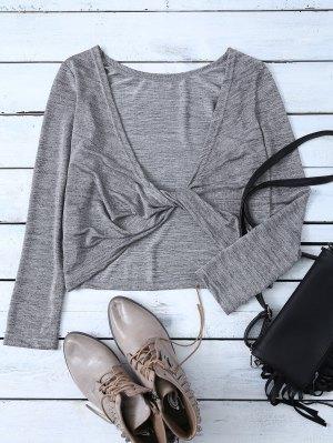 Heathered Long Sleeve Twist T-Shirt - Gray