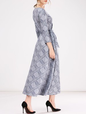 Checked Wrap A-Line Dress - Gray