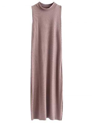 Side Slit Sleeveless Mock Neck Dress - Light Coffee