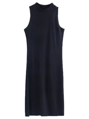 Side Slit Sleeveless Mock Neck Dress - Black