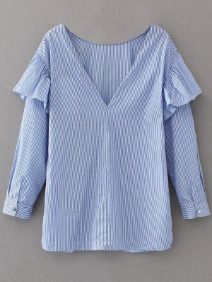 V Neck Ruffle Striped Pullover Shirt - Blue