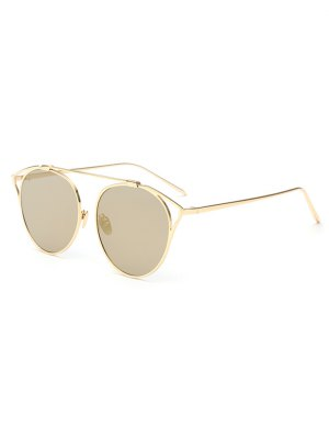 Hollow Out Metal Cat Eye Mirrored Sunglasses - Golden