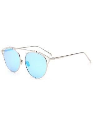 Hollow Out Metal Cat Eye Mirrored Sunglasses - Ice Blue